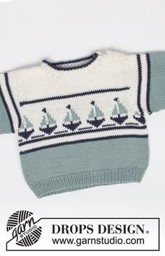 "Le Petit Explorateur / DROPS Baby - DROPS jumper with boat motif, shorts and Basque hat in ""Safran"". Le Petit Explorateur / DROPS Baby - DROPS jumper with boat motif, shorts and Basque hat in ""Safran"". Baby Knitting Patterns, Baby Sweater Knitting Pattern, Knit Baby Sweaters, Knitting For Kids, Baby Patterns, Free Knitting, Pullover Design, Sweater Design, Baby Vest"