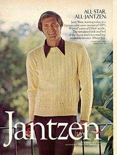Jantzen Cable Crew Sweater Vintage Magazine Ad- Featuring Jerry West