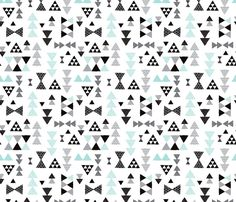 Geometric pastel blue bow tie and triangle tribal illustration pattern for boys or home decor fabric by littlesmilemakers on Spoonflower - custom fabric