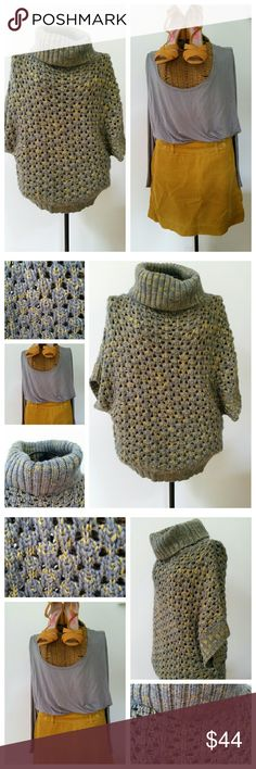 "HAZEL chunky airy knit cowl neck sweater M Love this sweater...wish it fit me HAZEL Anthropologie sweater Sz M Chunky grey and mustard yellow knit Acrylic rayon Cowl neck Bigger armholes...meant to fit loosely  Underarm to underarm 29.5"" Top of shoulder to hem 23"" Narrows at waist If you love the look, the grey undershirt, skirt and heels in separate listing. ..ask me about a bundle deal Anthropologie Sweaters Cowl & Turtlenecks"