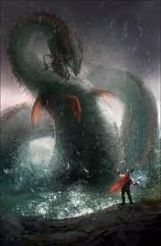 Jormungand, also known as The World Serpent, lives in the deep ocean. The World Serpent is offspring of Loki, the trickster. Later, Jormungand is slayed by Thor, but is in turn killed by the serpent's poison.