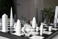 A Chess Set Inspired By London's Skyline London Eye, London Icons, Big Ben, Chess Set Unique, London Architecture, Building Architecture, Architecture Design, Tsumtsum, Most Popular Games