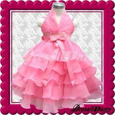 561Z Hot Pink Halter Elegant Wedding Flower Girl/Easters Pageant Dress 2-3Y