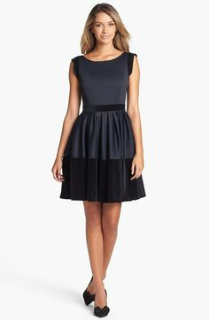Halston Heritage Velveteen Trim Fit & Flare Dress available at #Nordstrom