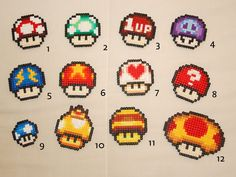Mario mushrooms perler beads by CoteDePorc perler,hama,square pegboard,video games,nintendo, super mario bros,mushroom,