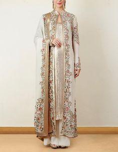 Ivory Jacket Set with Sequin Inner inner wear for women Pakistani Dress Design, Pakistani Dresses, Indian Dresses, Indian Outfits, Indian Attire, Indian Wear, Indian Designer Outfits, Designer Dresses, Red Lehenga