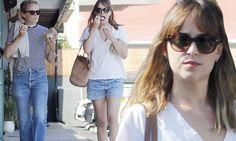 Dakota Johnson shows off her legs in shorts as she eats frozen yogurt