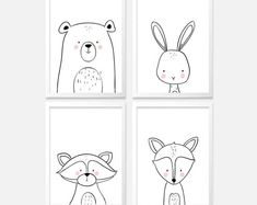 Items similar to Woodland nursery art Woodland prints Woodland Nursery decor Fox Bear Monochrome animals nursery art nursery prints Digital PRINTABLE ma on Etsy - illustrations Forest Nursery, Woodland Nursery Decor, Nursery Prints, Nursery Art, White Nursery, Monochrome Nursery, Animal Set, Selling Handmade Items, Forest Art