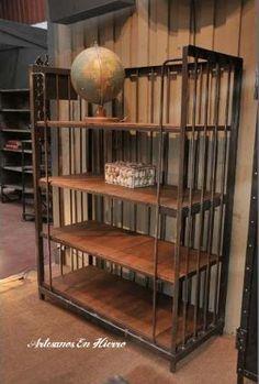 biblioteca retro hierro con madera new industrial vintage