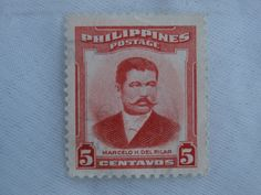 Marcelo H. del Pilar Philippines 5 Centavos Postage Stamp - 1950s era.  Impressive mustache.