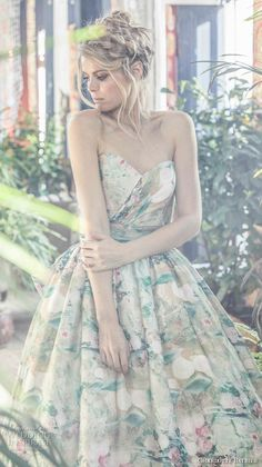 charlotte balbier 2018 bridal strapless sweetheart neckline wrap over bodice romantic colored green a line wedding dress ribbon back chapel train (jayde) zv -- Charlotte Balbier 2018 Wedding Dresses