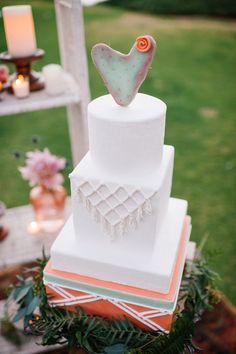 Mexican-inspired wedding cake design -fun with edible macrame, cactus, and soft color.  Featured in San Diego Style Weddings Magazine