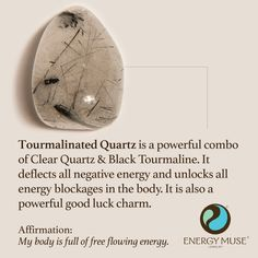 Tourmalinated Quartz is a powerful combination of Clear Quartz and Black Tourmaline. It deflects all negative energy and unlocks all energy blockages in the body. It is also a powerful lucky charm. #crystal #healing