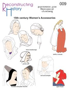 Early 15th Century women's accessories  Medieval Hood pattern I Medieval Women's Accessories I Medieval women's clothing