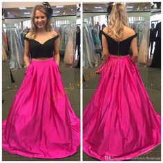 2016 Prom Dresses Crop Top With Off Shoulder And Zipper Back Real Picture Black…