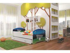 Detská posteľ s motivom futbalového ihriska, očarí každého malého futbalistu.