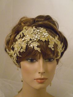 SO PRETTY!  1920's Gold Headpiece, Downton Abbey, Flapper Headband, Lace, Gold, Gatsby, Edwardian, Vintage. $69.00, via Etsy.