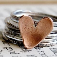 heart stacking rings.