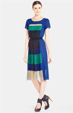 Pleated Colorblock Panel Chiffon Dress