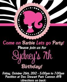 Barbie invitations Barbie Silhouette Birthday Invitation Zebra by