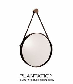 "Voyager Mirror | Polished Nickel http://www.plantationdesign.com/  495 Item Number: 0023002 Color: black | polished nickel | plain mirror Size: H: 29'' • Dia: 17"""