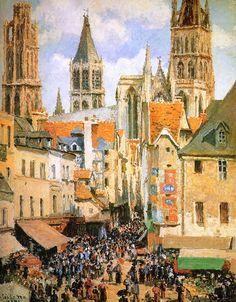 Camille Pissarro — The old market at Rouen via Camille...