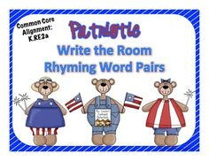 Patriotic Write the Room: Rhyming Word Pairs {FREE} Cute activity for those of us working Memorial day!