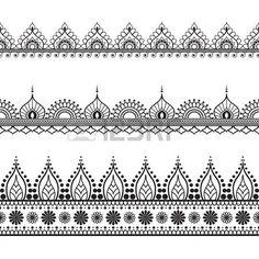 Die Grenzlinie Spitze mehndi Elemente im indischen Stil für die Karte und Tätowierung auf weißem Hintergrund. Vektor-Illustration photo