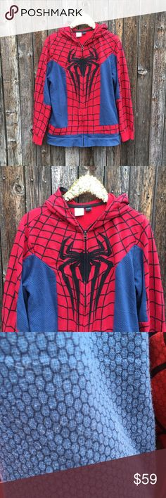 {Marvel} Spider-Man Full Hood Sweatshirt Men's XL EUC! Barely any signs of wear! Just in time for Halloween! Cool, full zip hood that can be a mask! Measurements to be posted asap. Fabric content and care shown in photos. Happy Poshoween! Marvel Shirts Sweatshirts & Hoodies