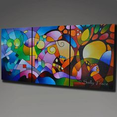 My beautiful original acrylic triptych painting Daydream, a geometric abstract landscape painting, 36x72 inches, 1.5 inches deep, geometric abstract paintings on three 24x36 inch canvases, sides painted black. Made-To-Order. ***This is a Made to Order painting which means I will be