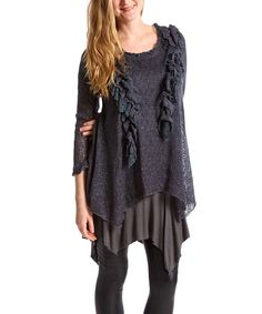 Look at this Pretty Angel Dark Gray Ruffle Linen-Blend Tunic on #zulily today!
