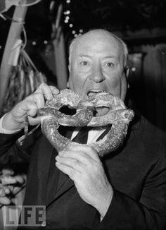 Alfred Hitchcock + Pretzel = love      (is that Alfred Hitchcock?)