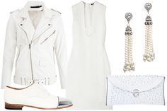 Clockwise from the top left... BLK DNM: Smoky White Leather Jacket; Raoul: White Sleeveless Disc Tunic Dress; Ben-Amun: Vintage Deco Opulent Earrings; Boticca: MeDusa Clutch; Dieppa Restrepo: Joe Mirror White Shoes. <3