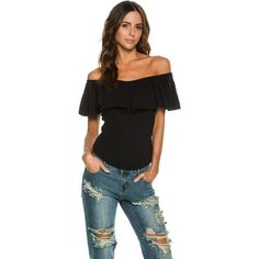 Free People Tula Off The Shoulder Top ($58) ❤ liked on Polyvore featuring tops, blouses, black, short sleeve cotton blouses, off the shoulder ruffle blouse, off the shoulder blouse, flutter-sleeve top and off-the-shoulder tops