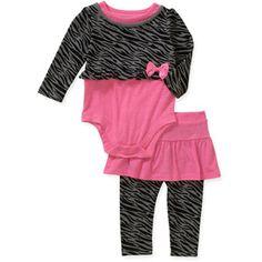 Garanimals Newborn Girl Graphic Creeper and Skirted Legging 2-Piece Set
