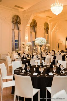 Romantic White Hydrangea Centerpieces in Silver Candelabra Vases at The Mayo Hotel