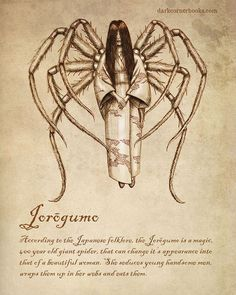According to the Japanese folklore, the Jorōgumo is a magic, 400 year old giant spider, that can change its appearance into that of a beautiful woman. She seduces young handsome men, wraps them up in her webs and eats them. Mythical Creatures Art, Mythological Creatures, Magical Creatures, Japanese Mythical Creatures, Mythological Monsters, Myths & Monsters, Sea Monsters, Legends And Myths, Arte Obscura