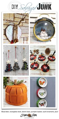 Visit 20+ NEW DIY Salvaged Junk Projects 553 - Wood deer, snowglobe clock, denim trees, pumpkin basket, scarf ornaments, plus! Click to visit up-cycled projects with full tutorials! Unique Christmas Decorations, Christmas Tree Ornaments, Christmas Crafts, Woodworking Projects That Sell, Diy Woodworking, Christmas Stencils, Funky Junk Interiors, Christmas Signs Wood, Upcycled Crafts