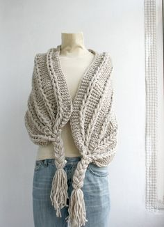 Hand Knitted Beige Rectangle Shawl / Over Size Long Cable Scarf / Winter Knit Accessories / Valentine's day Gift Knitted Shawls, Crochet Shawl, How To Wear Scarves, Knitting Accessories, Shawls And Wraps, Knit Patterns, Crochet Pattern, Free Pattern, Hand Knitting
