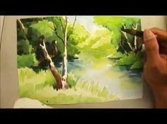 Watercolour painting of trees and river - 690 Art Class Watercolor Video, Watercolor Art Paintings, Watercolor Trees, Watercolour Tutorials, Watercolor Techniques, Watercolor Landscape, Art Techniques, Painting & Drawing, Watercolors