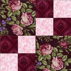 just 3 fabrics RJR Giselle Pink Mauve Black Shabby Rose Violet Floral Pre-cut Quilt Block Kit Easy Quilt Patterns, Patchwork Patterns, Patchwork Quilting, Scrappy Quilts, Easy Quilts, Pattern Blocks, Diy Quilting, Quilting Ideas, Patchwork Ideas