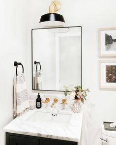 Yes please! Pretty powder room design by - Bathroom themes , Bathroom Mirror Design, Bathroom Trends, Bathroom Renovations, Bathroom Storage, Bathroom Ideas, Bathroom Organization, Remodel Bathroom, Bathroom Inspiration, Bathroom Cabinets