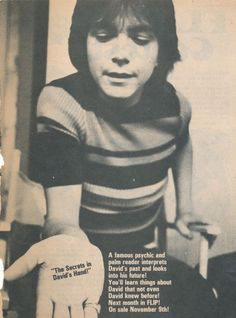 DAVID CASSIDY pinup – Sweet pose holding out hand!