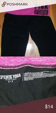 PINK Victoria's Secret yoga leggings Black yoga leggings with a pink band from PINK. Super comfy, great for every day wear and super comfy.  Cotton. Great for spring, looks amazing paired with sweaters and boots or shirts and sneakers. Full length, fold over band. PINK Victoria's Secret Pants Leggings