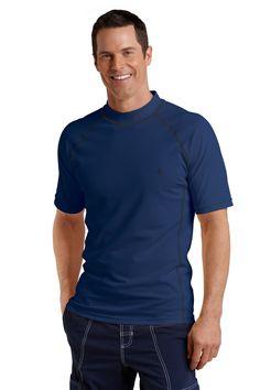 Men's Sun Protection Swim Shirt, Navy -  Short Sleeve