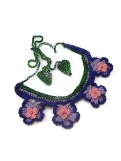 Violet Blossom Necklace Crochet Bib Necklace by ToppyToppyKnits, $24.00