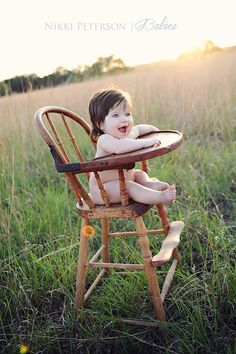 6 Month Baby in the Antique High Chair