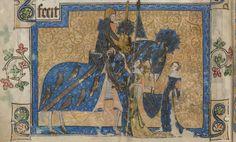 Sir Geoffrey Luttrell III raffigurato nella miniatura del folio 202v del Salterio Luttrell. Le insegne della casata di Irnham sono riportate sugli abiti della moglie e della nuora, noncheè sull'armatura, lo scudo e persino sulla gualdrappa del cavallo. (Foto: British Library)