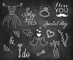 Wedding Doodle Chalkboard Overlays