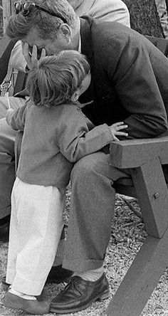 John. Jr. with his daddy. (What did he just tell his daddy? Look at that expression on JFK's face).